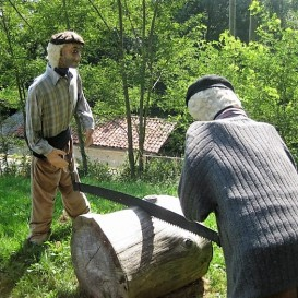 Log sawing: always important in this wooded region, for building, fuel, joinery ....