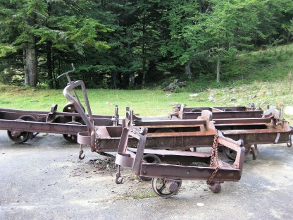 The trucks that used to transport the talc from the mines.